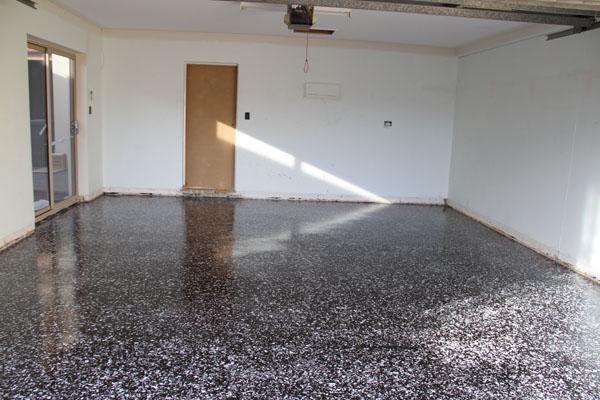 Garage Floor with Black Marble Flake